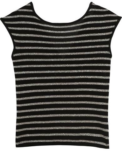 Saint LaurentSaint Laurent - Metallic Striped Wool-blend Top - Silver