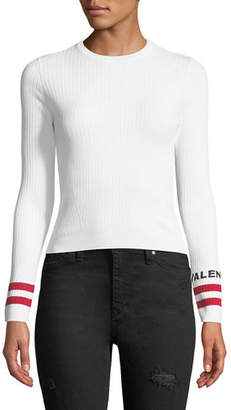 Valentino Crewneck Long-Sleeve Rib-Knit Pullover Top with Logo Cuffs