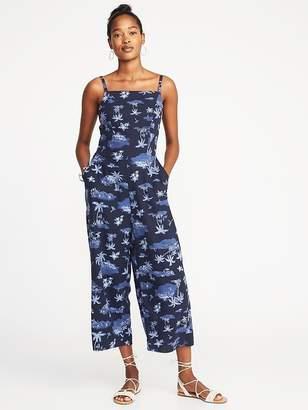 Old Navy Waist-Defined Square-Neck Linen-Blend Jumpsuit for Women