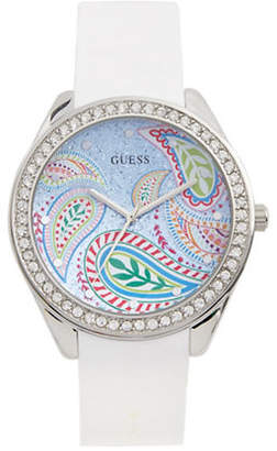 GUESS Analog Crystal Bezel White Silicone Strap Watch