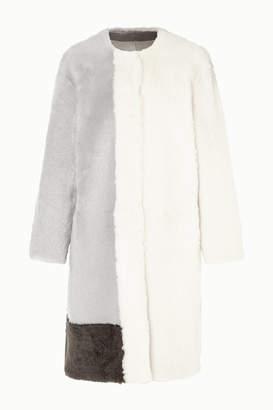 Karl Donoghue Color-block Shearling Coat - Light gray