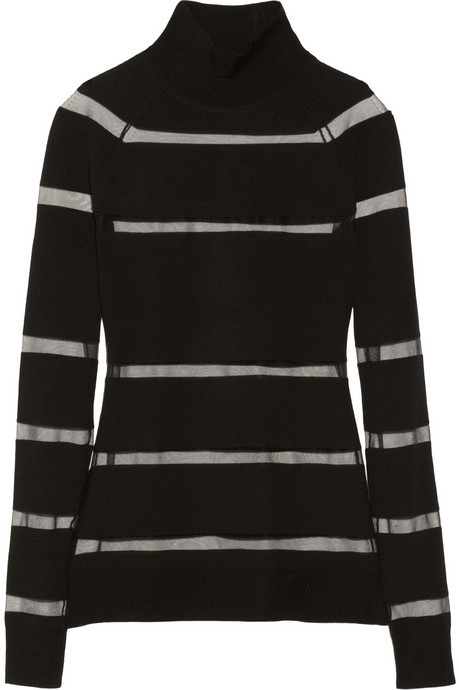 Jason Wu Striped merino wool and tulle sweater