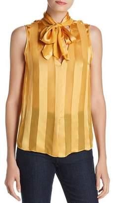 Alice + Olivia Gwenda Striped Tie-Neck Top