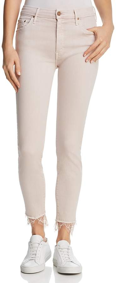 Looker Dagger Lace-Trim Ankle Skinny Jeans in Blush