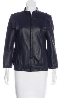 Loeffler Randall Leather Bomber Jacket