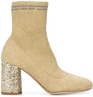 Miu Miu knit fabric boots