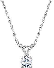 Affinity Diamond Jewelry Affinity 14K 1/4 cttw Round Diamond Pendant w/Chain