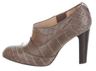 Tod's Crocodile Pointed-Toe Booties w/ Tags
