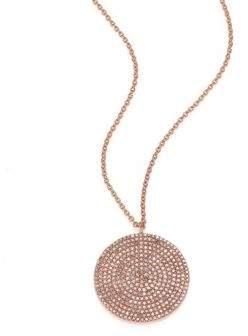 Astley Clarke Icon Light Grey Diamond& 14K Rose Gold Aura Large Pendant Necklace