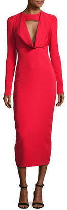 Cushnie et Ochs Stretch-Crepe Cowl-Neck Midi Dress, Red