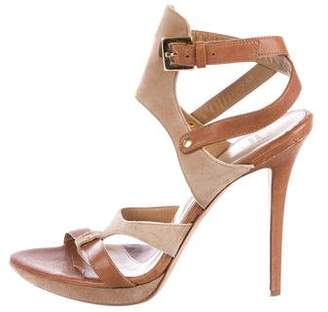 Herve Leger Leather Multistrap Sandals