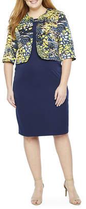 MAYA BROOKE Maya Brooke 3/4 Sleeve Embellished Jacket Dress-Plus