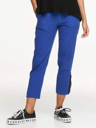 DKNY Twill Cropped Cargo Pant With Zip Detail