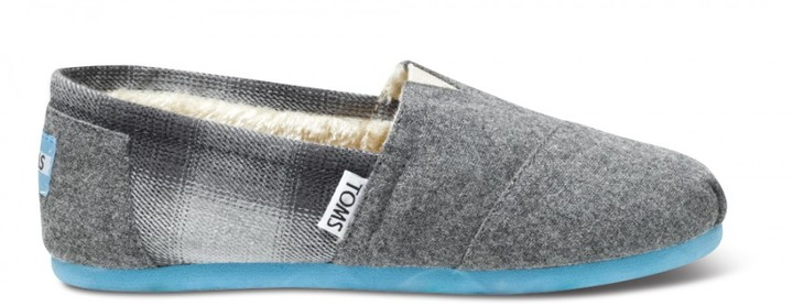 Toms Blue pop wool plaid youth classics
