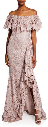 Badgley Mischka Off-the-Shoulder Short-Sleeve Floral Lace Ruffle Gown