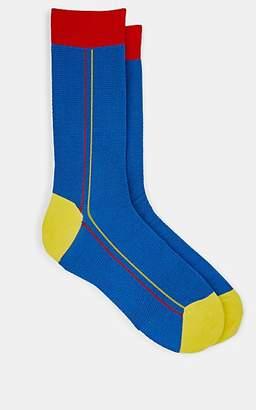Barneys New York Men's Cotton-Blend Jacquard Mid-Calf Socks - Blue
