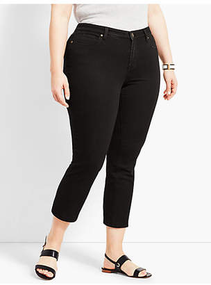 Talbots Plus Size Exclusive Denim Straight Leg Crop - Black
