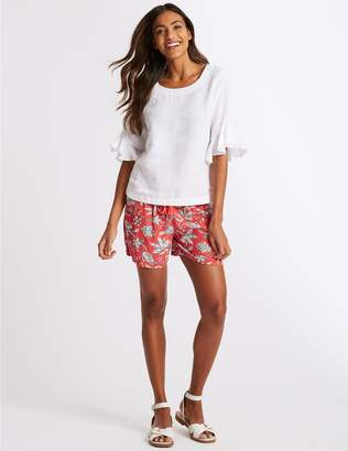 Marks and Spencer Floral Print Crinkle Casual Shorts