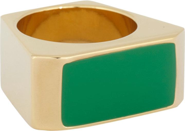 Saint Laurent Enameled Color Block Ring