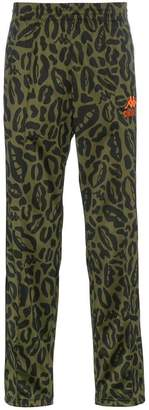 Charm's leopard print and logo embroidered sweatpants