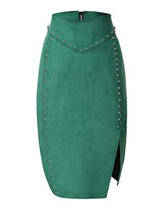 Bellivera Women's Faux Suede Leather Pencil Skirt Hip Wrapped Back Split