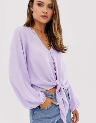 Asos Design DESIGN long sleeve button front top with tie detail