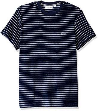 Lacoste Men's Short Sleeve Reg Fit Blue Pack Striped French Terry Tee