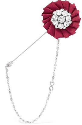 Dolce & Gabbana Silver-tone, Crystal And Grosgrain Brooch