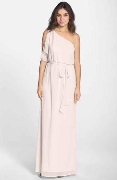nouvelle AMSALE 'Bea' One-Shoulder Chiffon Gown