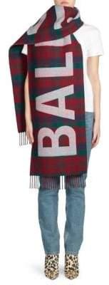 Balenciaga Plaid Wool Logo Scarf