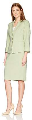 Le Suit Women's Two Tone Tweed 3 Button Skirt Suit