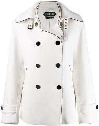 Tom Ford buckled collar peacoat