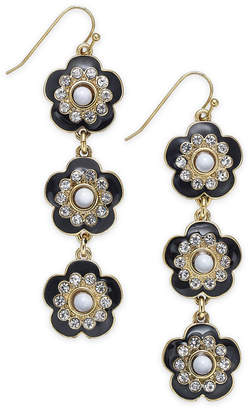 INC International Concepts I.n.c. Gold-Tone Crystal & Stone Flower Linear Drop Earrings, Created for Macy's