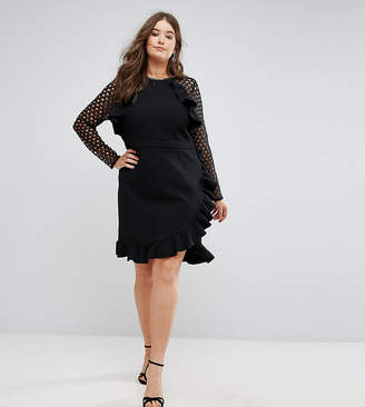 Truly You Wrap Front Dress With Lace Sleeve Detail