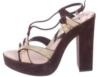 Prada Embossed Crossover Platform Sandals