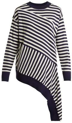 MM6 MAISON MARGIELA Striped Asymmetric Hem Sweater - Womens - Navy White