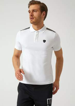 Emporio Armani Ea7 Stretch Cotton Jersey Polo Shirt With Inserts On The Shoulders