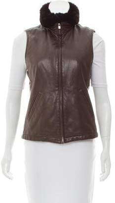 Loro Piana Fur-Trimmed Leather Vest
