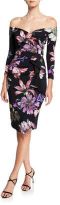 Chiara Boni Floral Off-the-Shoulder 3/4-Sleeve Cocktail Dress