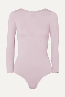 ALEXACHUNG Ruched Stretch-jersey Bodysuit - Lilac