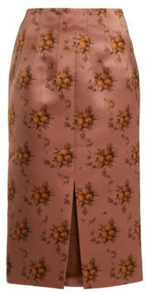 Brock Collection Sorrel Floral Print Satin Pencil Skirt - Womens - Brown