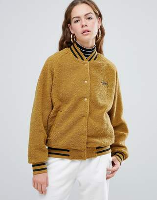 Stussy Varsity Jacket With Embroidered Chest Logo In Teddy Fleece