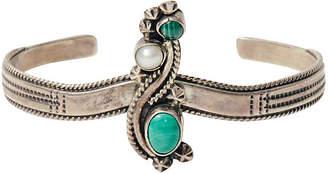 One Kings Lane Vintage Sterling - Malachite & Pearl Bracelet - Maeven