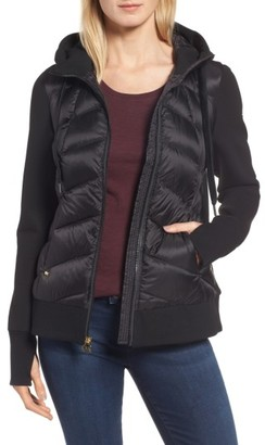 Women's Michael Michael Kors Hooded Down & Neoprene Jacket $168 thestylecure.com