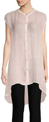 Eileen Fisher Women's Hi-Lo Stand Collar Shirt