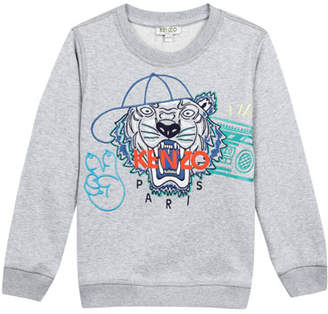 Kenzo Tiger in Baseball Cap Embroidered Sweatshirt, Size 2-4