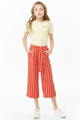 Forever 21 Girls Belted Striped Pants (Kids)