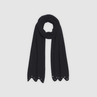 Sandro Scalloped scarf with decorative eyelets