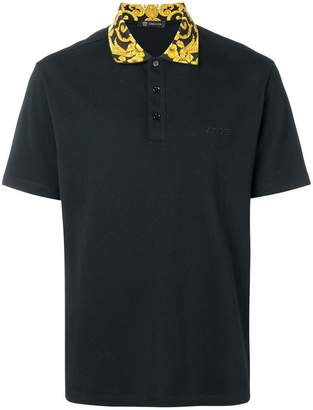 Versace printed collar polo shirt