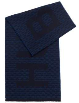 BOSS Italian-made monogram scarf in a brushed wool blend